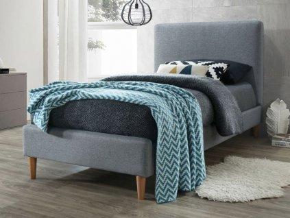 Šedá jednolůžková postel ACOMA 90 x 200 cm