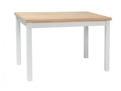 Bílý jídelní stůl s deskou v dekoru dub ADAM 100x60