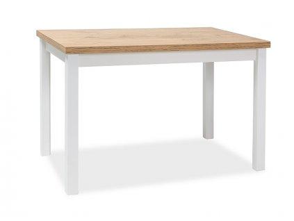 Bílý jídelní stůl s deskou v dekoru dub lancelot ADAM 100x60