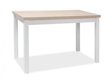 Bílý jídelní stůl s deskou v dekoru dub sonoma ADAM 100x60
