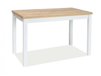 Bílý jídelní stůl s deskou v dekoru dub zlatý craft ADAM 120x68
