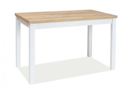 Jídelní stůl, dub zlatý craft / bílý mat, ADAM 120x68