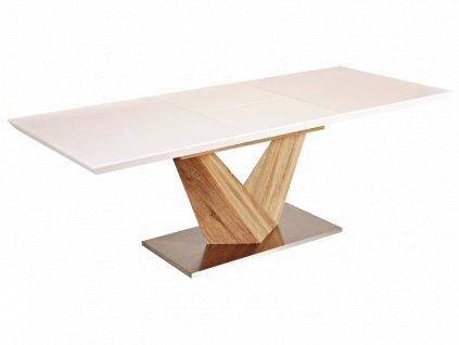 Bílý jídelní stůl ALARAS 140(200)X85, rozkládací