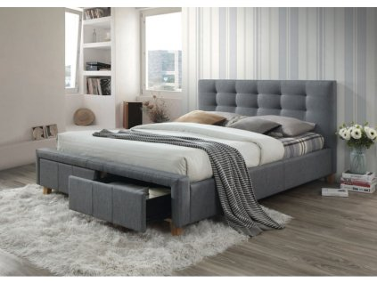 Dvoulůžková postel, šedá/dub, ASCOT 160X200