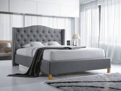 Čalouněná postel, šedá/dub, ASPEN 180x200