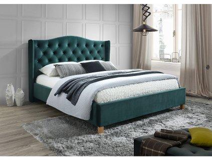 Čalouněná postel, zelená/samet/dub, ASPEN 160x200