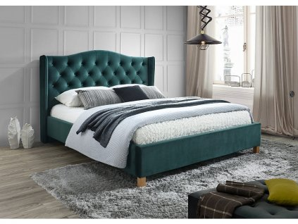 Zelená čalouněná postel ASPEN VELVET 160 x 200 cm