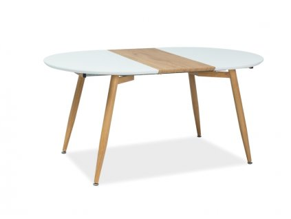Rozkládací stůl, bílá / dub, AVON 120(200)X100