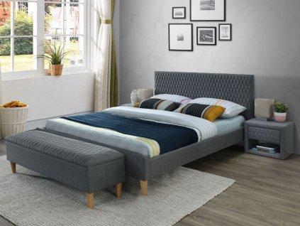 Dvoulůžková postel, šedá/dub, AZURRO 160X200
