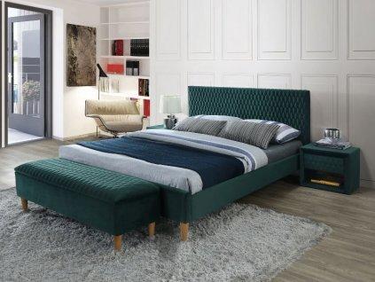Zelená dvoulůžková postel AZURRO VELVET 160 x 200 cm