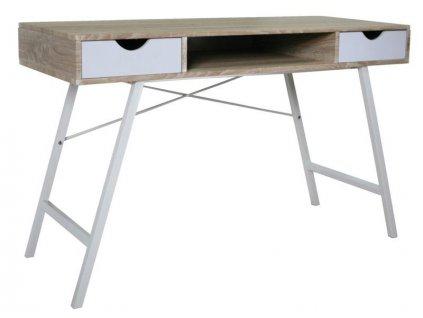 Psací stůl, bílá / kov, B-140
