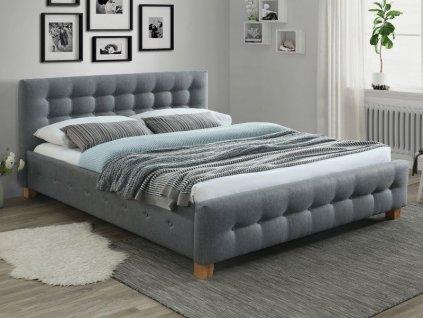 Čalouněná postel, šedá/dub, BARCELONA 160X200
