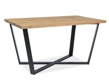 Jídelní stůl, přírodní dub / černá, BERNARDO 150x90