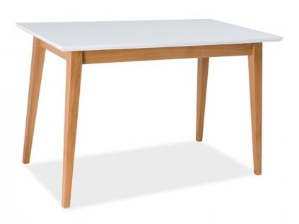 Jídelní stůl, bílý mat / buk 120x68