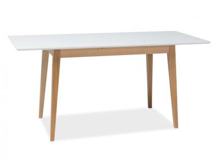 Jídelní stůl, bílý mat / buk, BRAGA II 140(190)x75