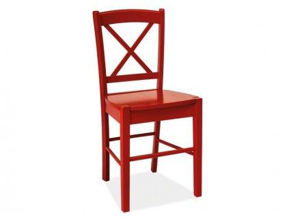 Červená dřevěná židle CD-56