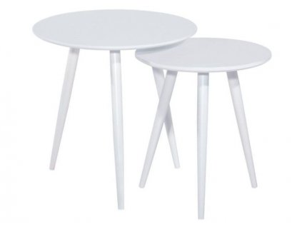 Set příručních stolků, bílá / kov, CLEO