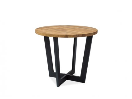 Černý jídelní stůl s dubovou deskou CONO fi 90