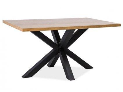 Jídelní stůl, přírodní dub / černá, CROSS 180x90