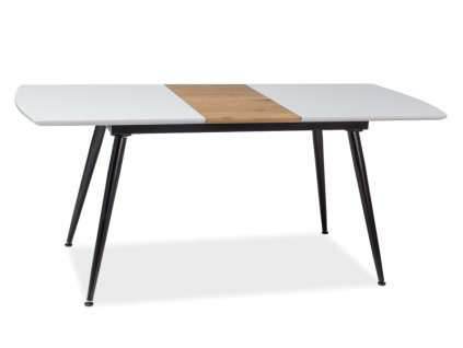 Jídelní stůl, bílý lak / dub / černý mat, DAVOS 140(180)X80