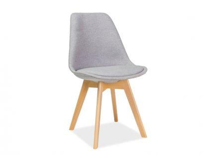 Světle šedá židle s bukovými nohami DIOR