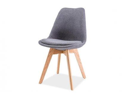 Tmavě šedá židle s dubovými nohami DIOR