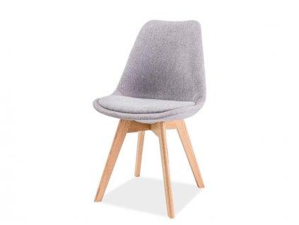 Světle šedá židle s dubovými nohami DIOR