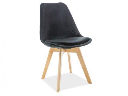 Černá židle s bukovými nohami DIOR VELVET