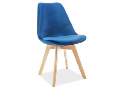 Tmavě modrá židle s bukovými nohami DIOR VELVET
