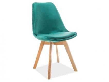 Židle, zelený samet / buk, DIOR VELVET