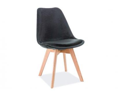 Židle, černý samet / dub, DIOR VELVET