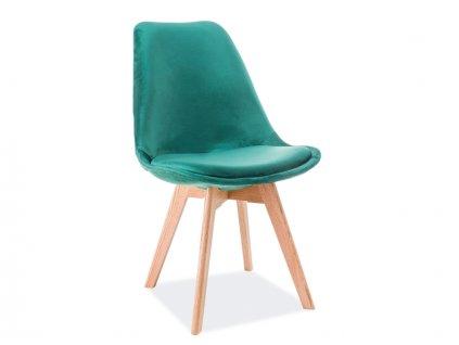 Zelená židle s dubovými nohami DIOR VELVET