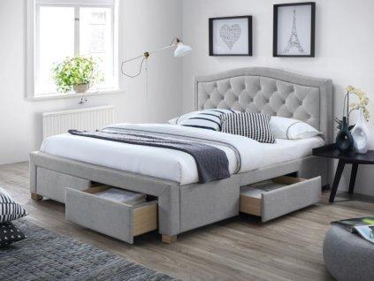Čalouněná postel, šedá/dub, ELECTRA 160X200