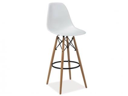 Barová stolička, bílá / buk, HOKER ENZO H-1