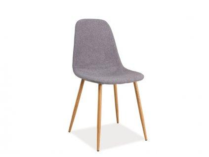 Šedá židle FOX s dubovými nohami