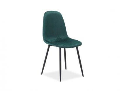 Židle, zelený samet / černá, FOX