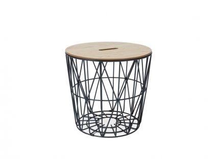 Příruční stolek, dub / černá, HERA