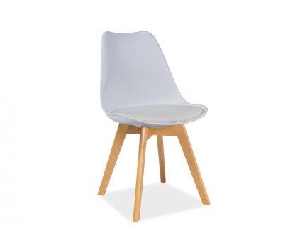 Bílá židle s bukovými nohami KRIS