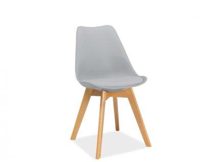 Světle šedá židle s bukovými nohami KRIS