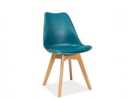 Modrá židle s bukovými nohami KRIS