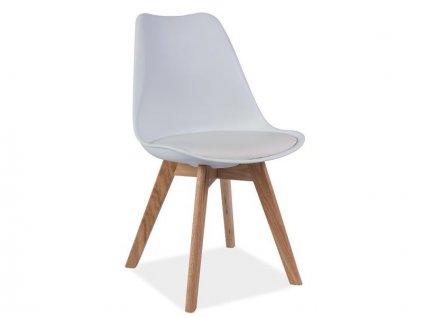 Bílá židle s dubovými nohami KRIS
