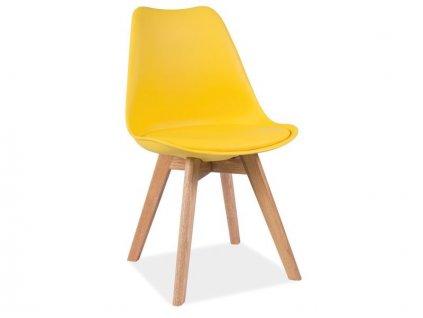 Žlutá židle s dubovými nohami KRIS