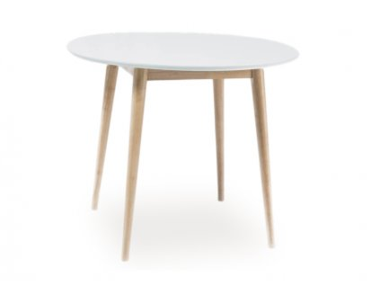 Jídelní stůl, bílá / dub bělený, LARSON 100X100