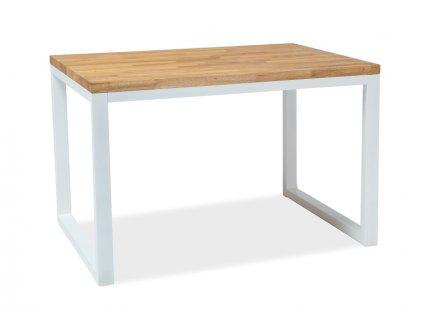 Bílý jídelní stůl s dubovou deskou LORAS II 150x90