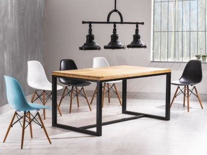 Černý jídelní stůl s deskou v dekoru dub LORAS 150x90