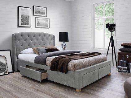 Dvoulůžková postel, šedá/dub, MADISON 160X200