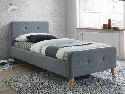 Šedá jednolůžková postel MALMO 90 x 200 cm