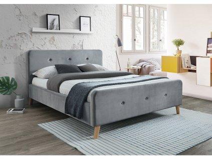 Čalouněná postel, šedý samet/dub MALMO VELVET 160X200