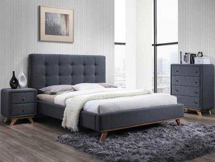 Čalouněná postel, šedá, MELISSA 160X200
