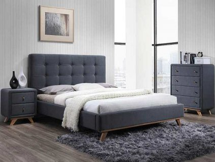 Šedá čalouněná postel MELISSA 160 x 200 cm